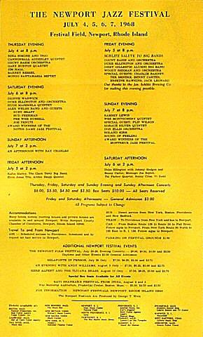 Newport Jazz Festival Program reverse side