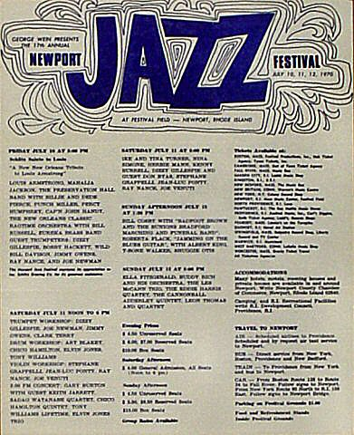 Newport Jazz Festival Program reverse side