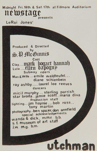 "Newstage Presents ""Dutchman"" Handbill"