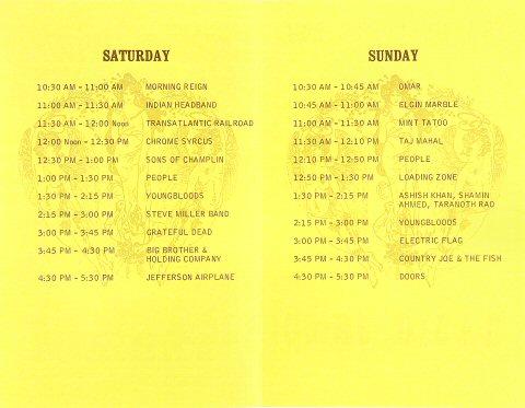 Northern California Folk-Rock Festival Program reverse side