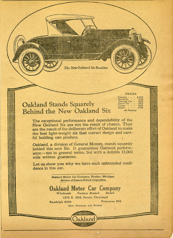 Oakland: Six Roadster Vintage Ad, 1922 at Wolfgang\'s
