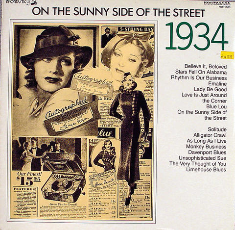 "On The Sunny Side Of The Street: 1934 Vinyl 12"" (New)"