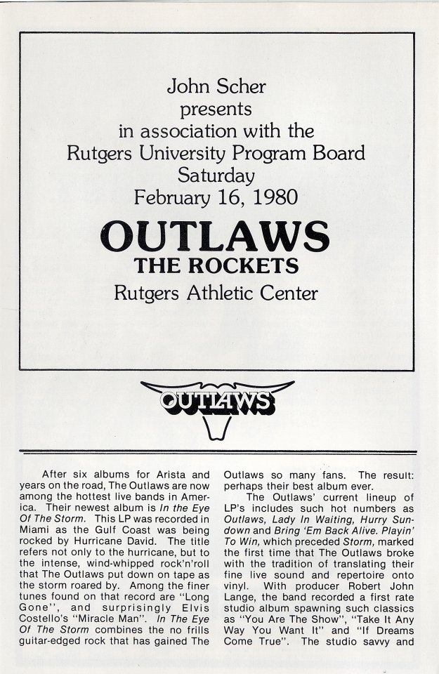 Outlaws Program reverse side