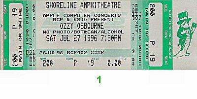 Ozzy Osbourne Vintage Ticket