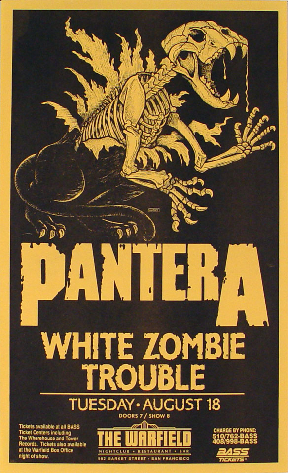 pantera poster from warfield theatre aug 18 1992 at