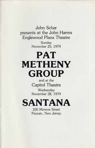 Pat Metheny Group Program reverse side