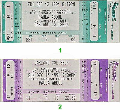 Paula Abdul Vintage Ticket