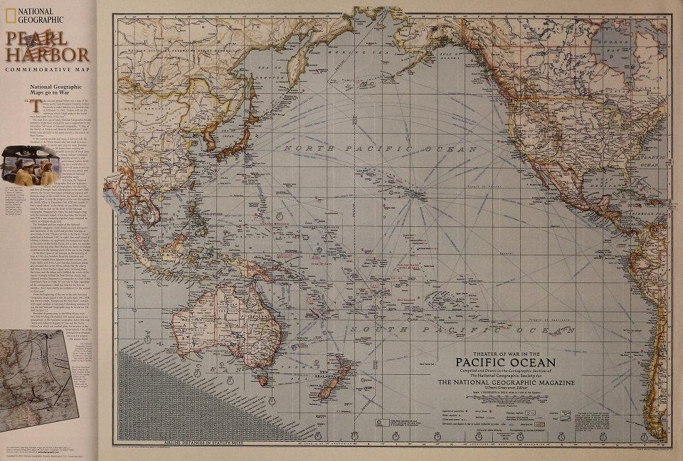 Pearl Harbor Commemorative Map Poster