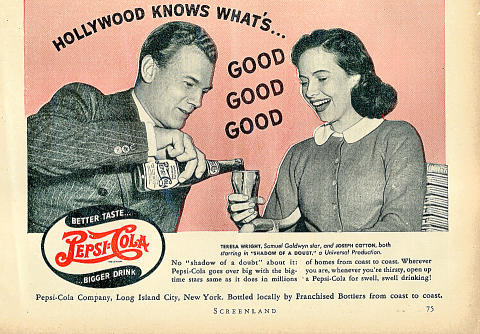 Pepsi-Cola: Hollywood Knows What's... Vintage Ad