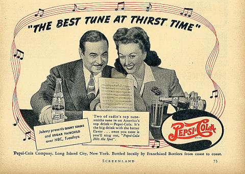 "Pepsi-Cola: ""The Best Tune At Thirst Time"" Vintage Ad"