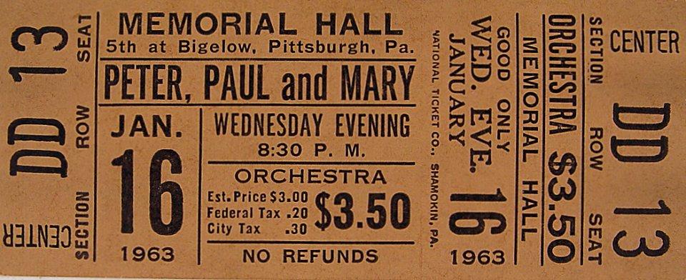 Peter, Paul & Mary Vintage Ticket