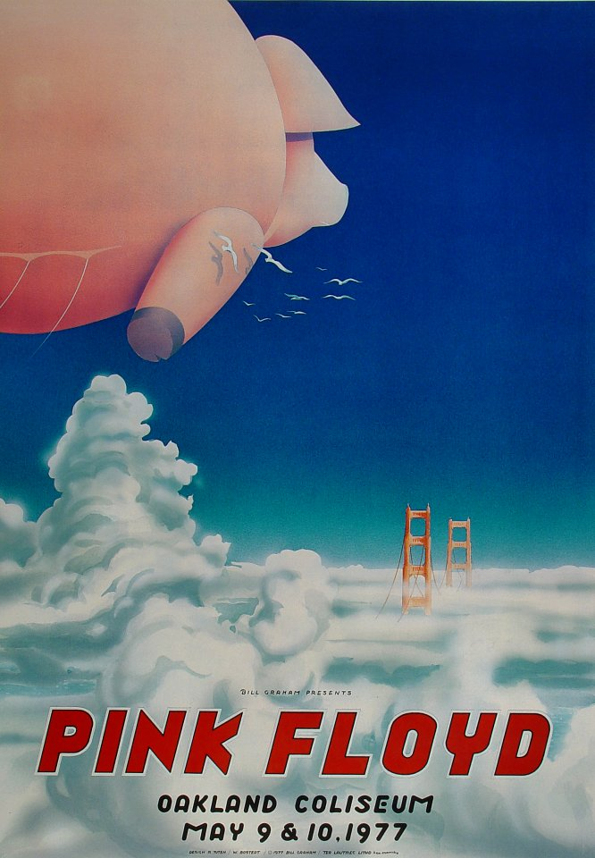 pink floyd poster from oakland coliseum arena may 9 1977
