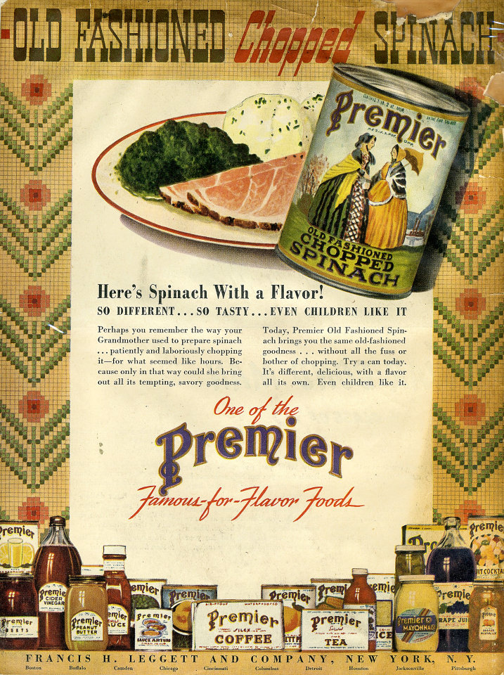 Premier: Old Fashioned Chopped Spinach Vintage Ad, 1945 at ...