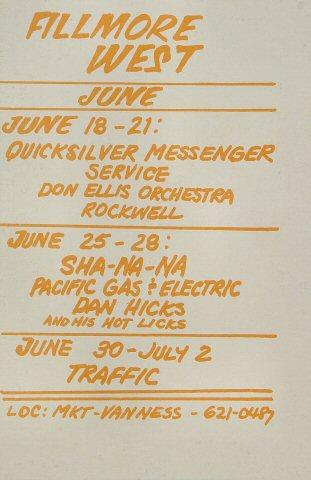 Quicksilver Messenger Service Handbill reverse side