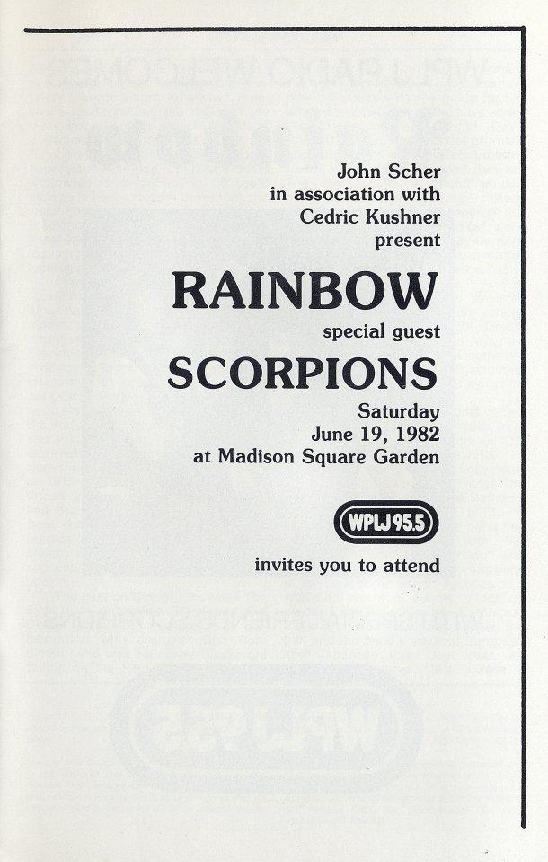 Rainbow Program reverse side