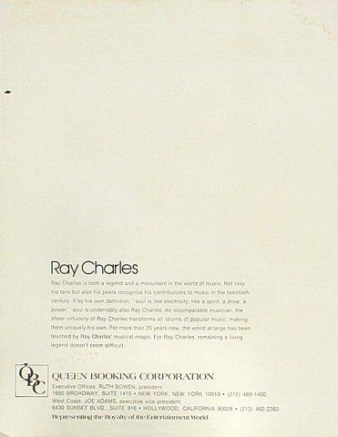 Ray Charles Handbill reverse side