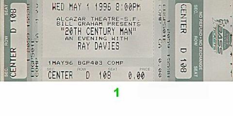 Ray Davies Vintage Ticket
