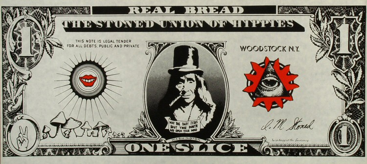 """Real Bread """"one Slice"""" The Stoned Union of Hippies Poster"""