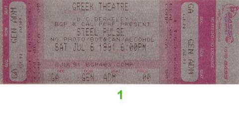 Reggae Sunsplash Festival Vintage Ticket