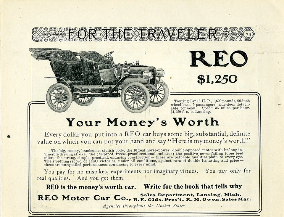 Reo: For The Traveler Vintage Ad