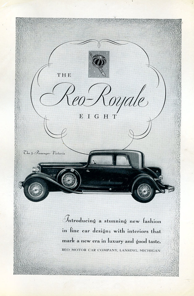 Reo-Royale Eight: The 5-Passenger Victoria Vintage Ad, 1931 at ...