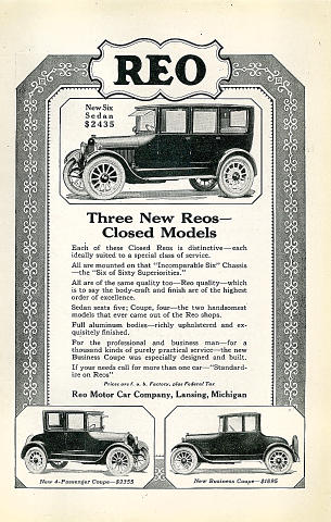 Reo: Six Sedan Vintage Ad