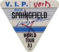 Rick Springfield Backstage Pass