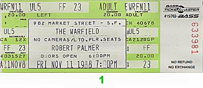 Robert Palmer Vintage Ticket