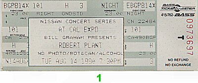 Robert Plant Vintage Ticket