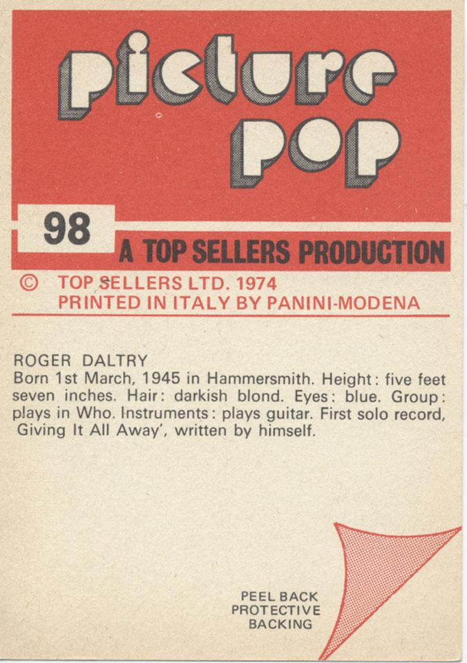 Roger Daltrey Vintage Print reverse side