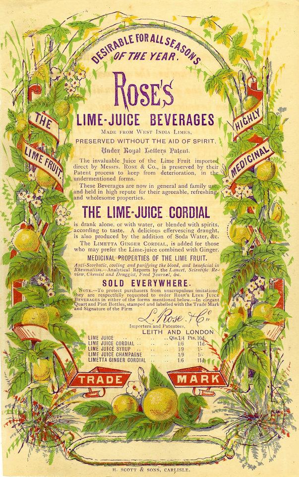 Rose's Lime-Juice Cordial Vintage Ad