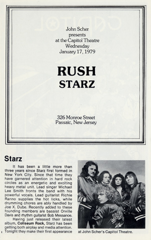 Rush Program reverse side