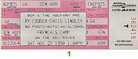 Ry Cooder Vintage Ticket
