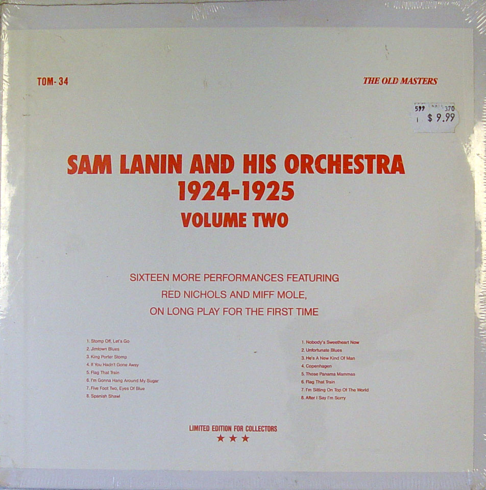 "Sam Lanin And His Orchestra Vinyl 12"" (New)"