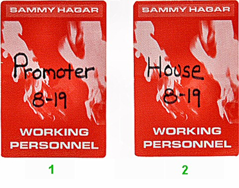 Sammy Hagar Backstage Pass
