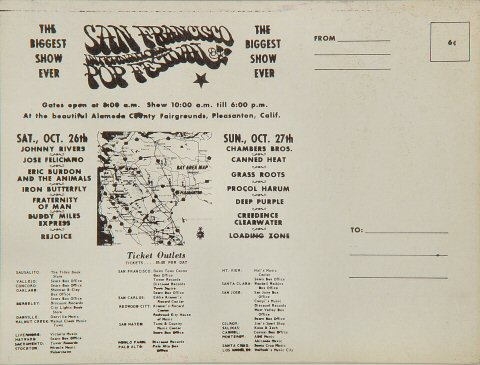San Francisco International Pop Festival Postcard reverse side
