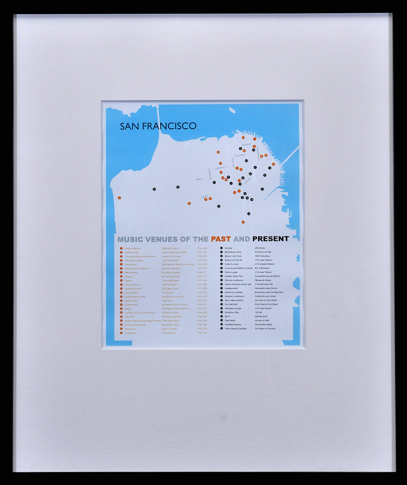 San Francisco Music Venues of the Past and Present Framed Poster