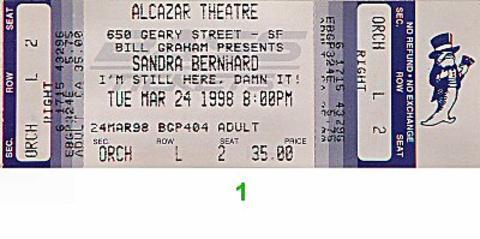 Sandra Bernhard Vintage Ticket