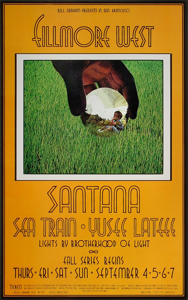 santana vintage concert handbill from fillmore west sep 4 1969 at