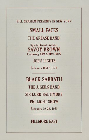 Savoy Brown Program reverse side