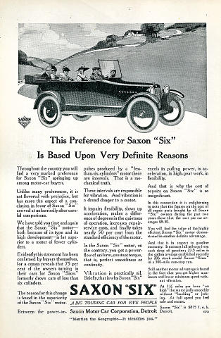 "Saxon ""Six"" Vintage Ad"
