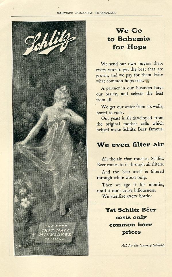 Schlitz: We Go Bohemia For Hops Vintage Ad