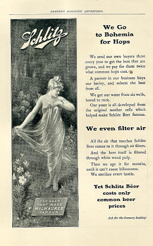 Schlitz: We Go Bohemia For Hops Vintage Ad