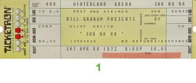 Sha Na Na Vintage Ticket