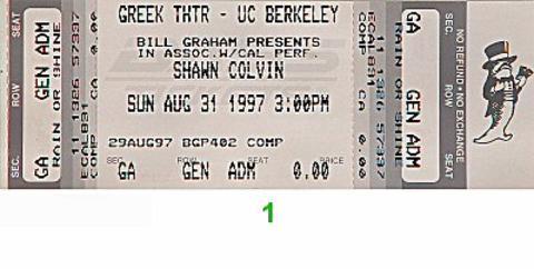 Shawn Colvin Vintage Ticket