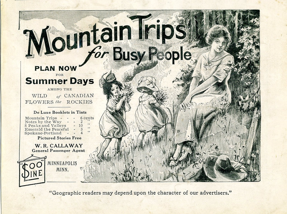 Soo Line Railroad: Mountain Trips for Busy People Vintage Ad