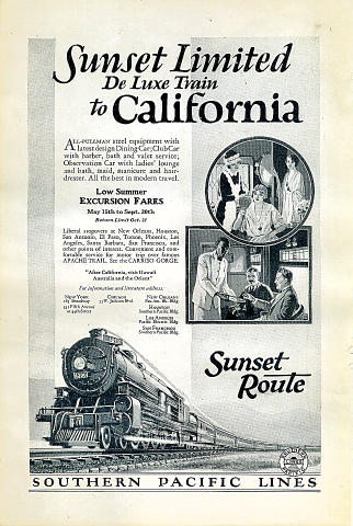 Southern Pacific Lines: Sunset Route Vintage Ad