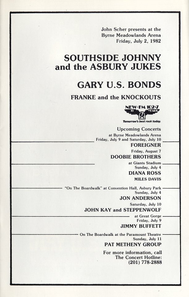 Southside Johnny & the Asbury Jukes Program reverse side