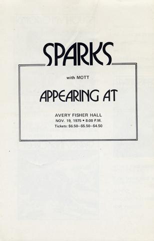 Sparks Program reverse side