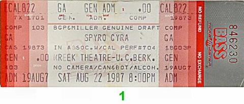 Spyro Gyra Vintage Ticket